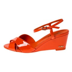Fendi Orange Patent Leather Ankle Strap Wedge Sandals Size 38.5