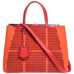 Fendi Orange Studded Neoprene and Leather Medium 2Jours Tote