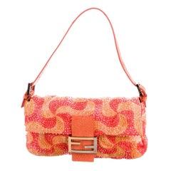 Fendi Orange Swirl Beaded Baguette Lizard Shoulder Bag