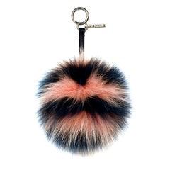 Fendi Peach Blue Stripe Fox Fur Pom Pom Bag Charm rt. $650