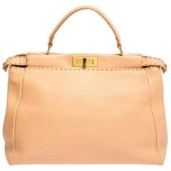 Fendi Peach Selleria Leather Large Peekaboo Top Handle Bag