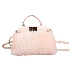 Fendi Peach Sherling Micro Peekaboo Crossbody Bag