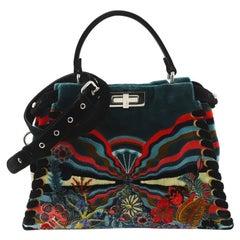 Fendi Peekaboo Bag Embroidered Velvet Medium