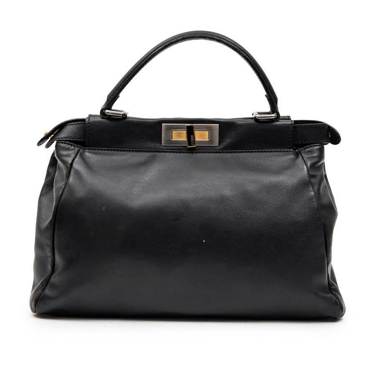 7963225dbad FENDI 'Peekaboo' Bag in Soft Black Leather For Sale at 1stdibs