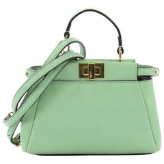 Fendi Peekaboo Bag Leather Micro, crafted from teal leather