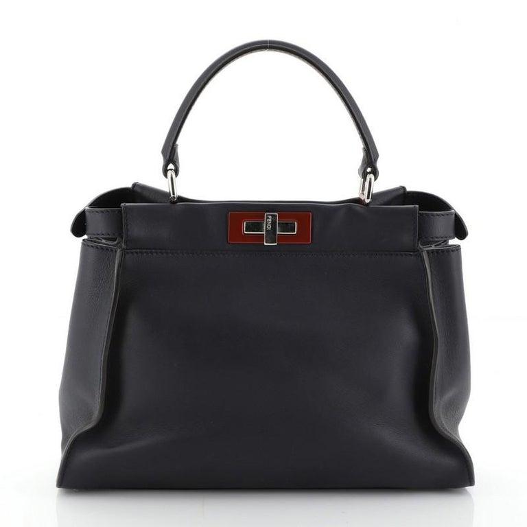 Black Fendi Peekaboo Bag Rigid Leather Regular