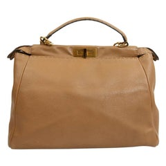 FENDI Peekaboo Gold Grained Leather Bag