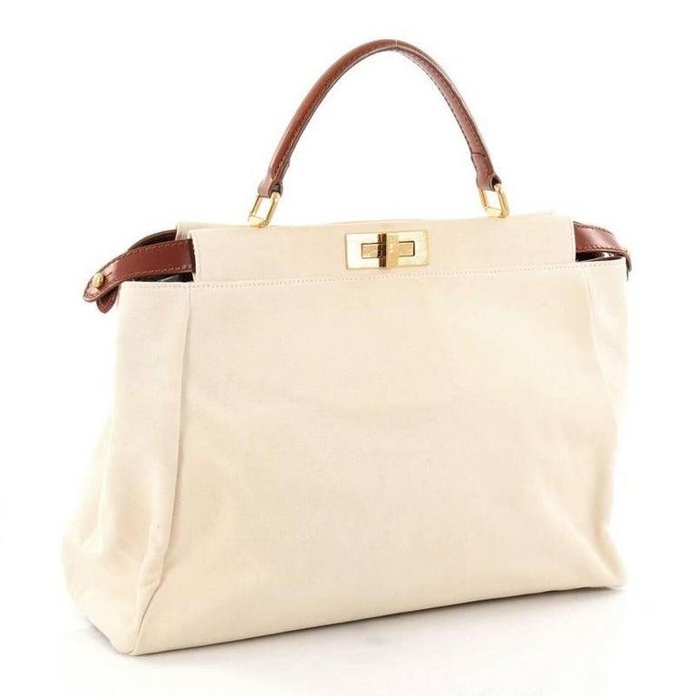 White Fendi Peekaboo Handbag Canvas Large For Sale 1c80cda1fefb9