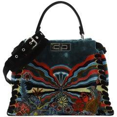 Fendi Peekaboo Handbag Embroidered Velvet Medium