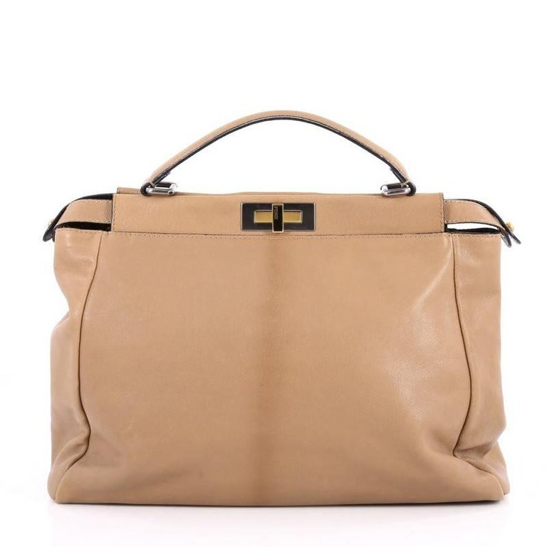 4eda419bf2 Fendi Peekaboo Handbag Leather Large In Good Condition For Sale In New  York, NY