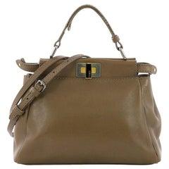 Fendi Peekaboo Handbag Leather with Beaded Interior Mini