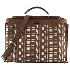 Fendi Peekaboo Iconic Essential Bag Laser Cut Leather and Canvas Large