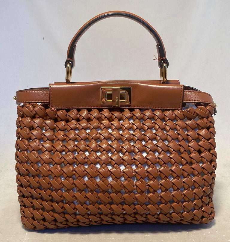 Women's Fendi Peekaboo Iconic Mini Brown Leather Interlace Bag For Sale