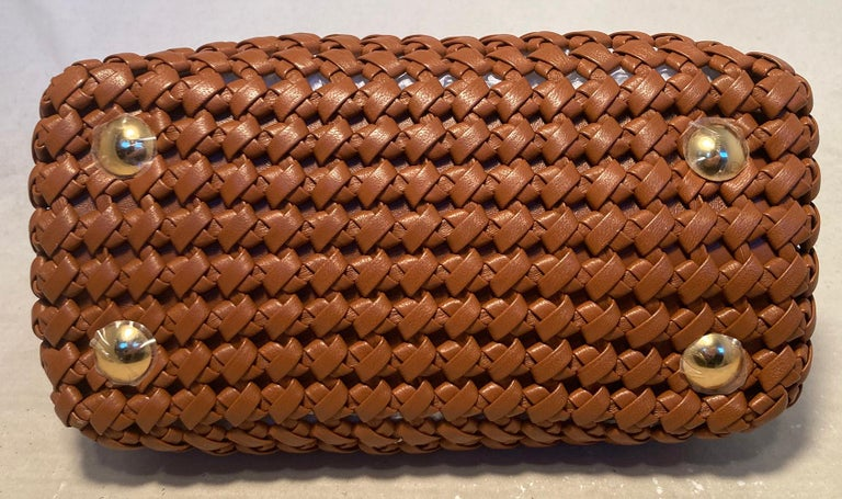 Fendi Peekaboo Iconic Mini Brown Leather Interlace Bag For Sale 1