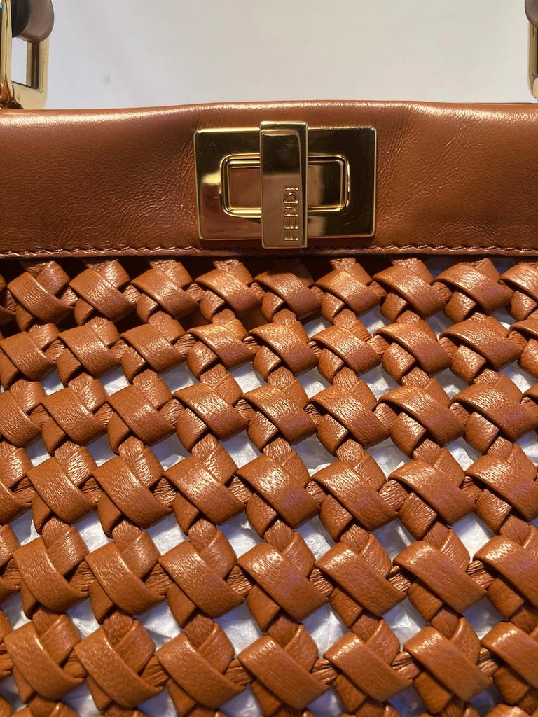 Fendi Peekaboo Iconic Mini Brown Leather Interlace Bag For Sale 2