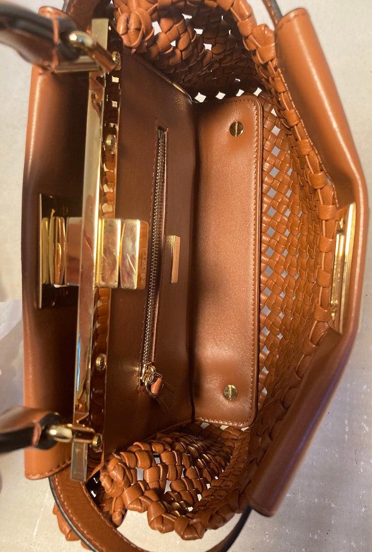 Fendi Peekaboo Iconic Mini Brown Leather Interlace Bag For Sale 3