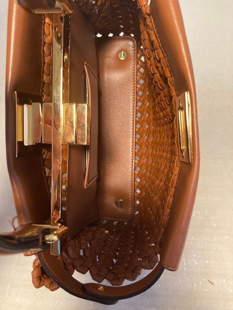 Fendi Peekaboo Iconic Mini Brown Leather Interlace Bag For Sale 4