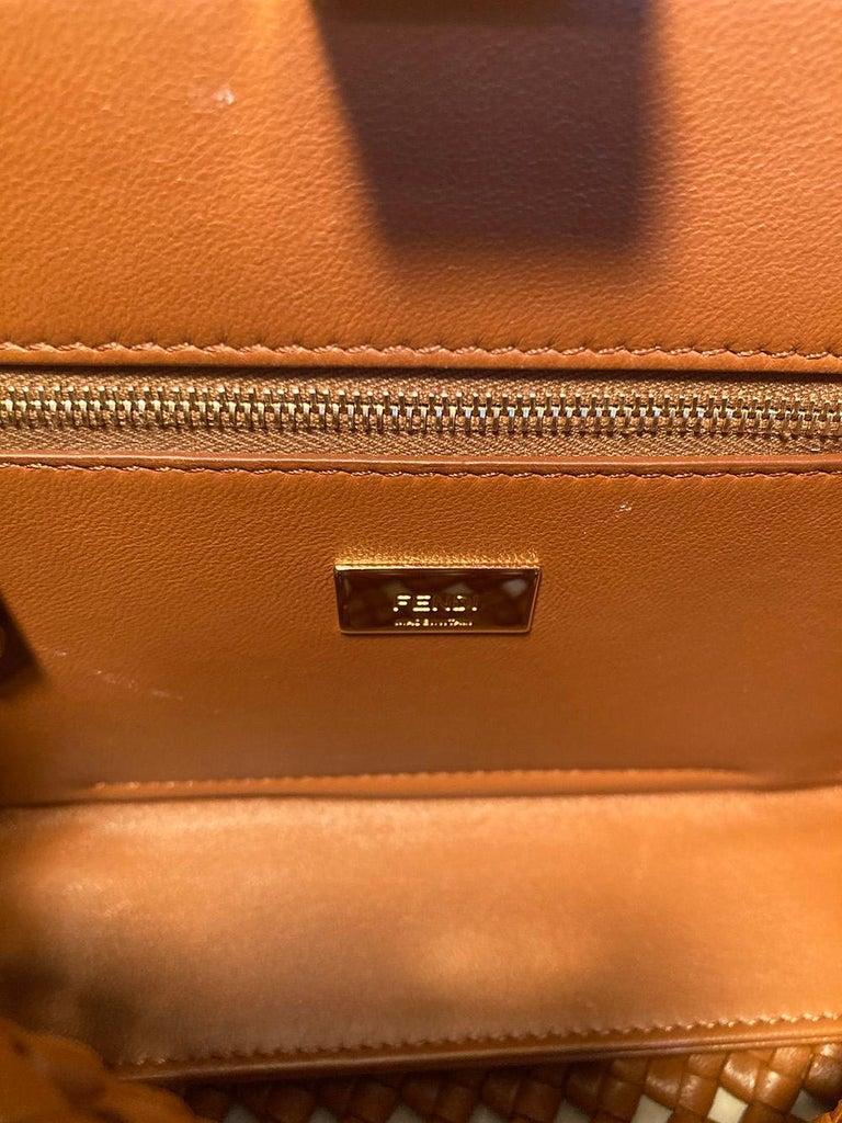Fendi Peekaboo Iconic Mini Brown Leather Interlace Bag For Sale 5