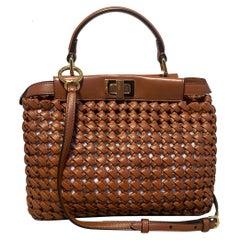 Fendi Peekaboo Iconic Mini Brown Leather Interlace Bag