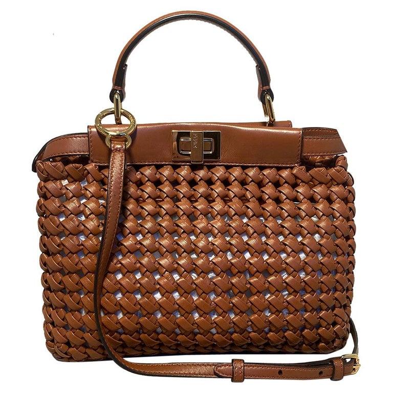 Fendi Peekaboo Iconic Mini Brown Leather Interlace Bag For Sale