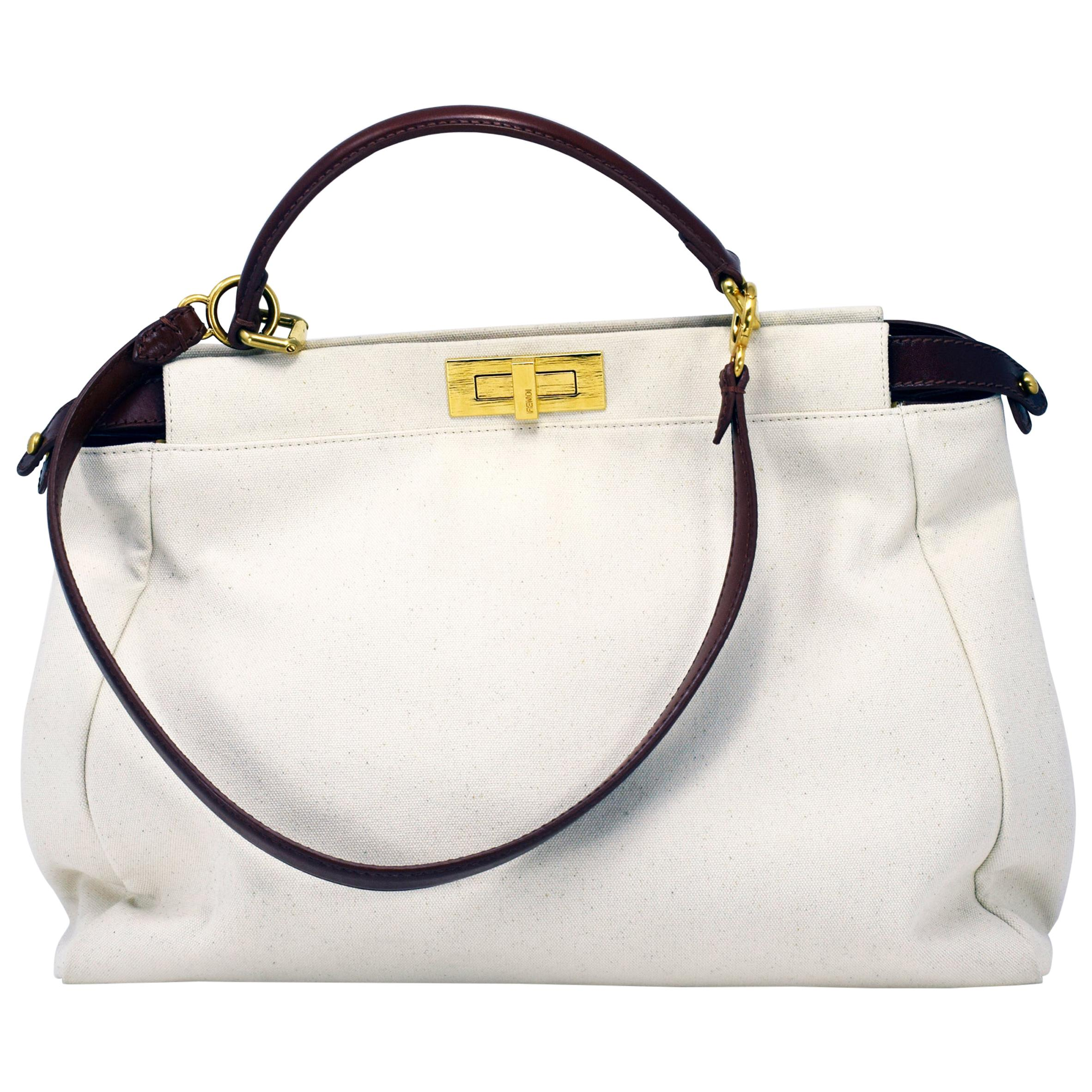 Fendi Peekaboo Large Canvas Handbag