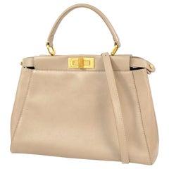 FENDI PEEKABOO Selleria 2WAY Womens handbag Grey x gold hardware
