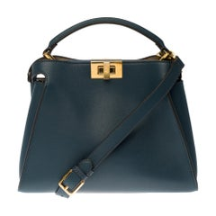 Fendi Peekaboo shoulder bag with strap in blue leather and gold hardware