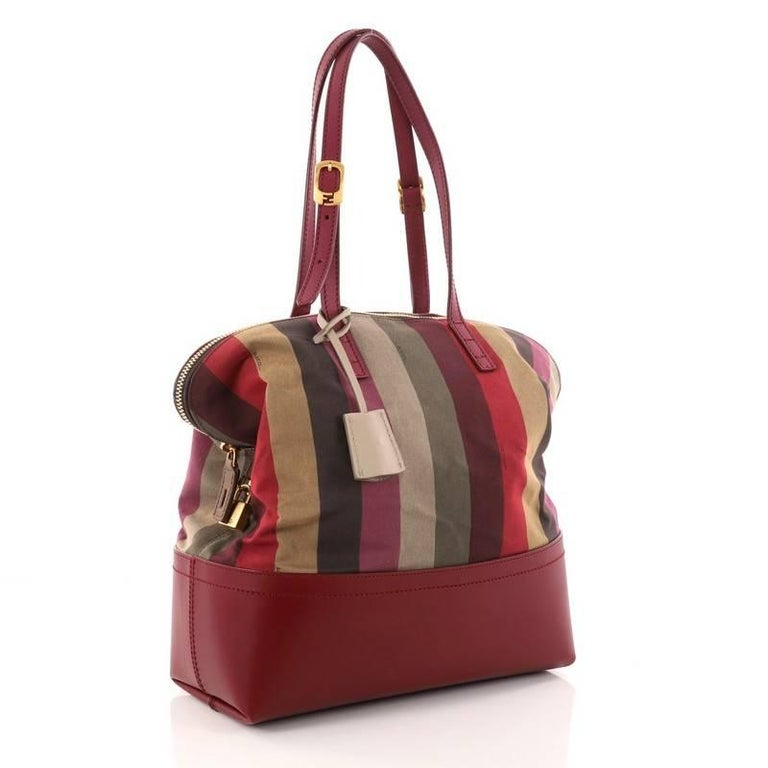 085016764fff Brown Fendi Pequin 2Bag Canvas and Leather For Sale