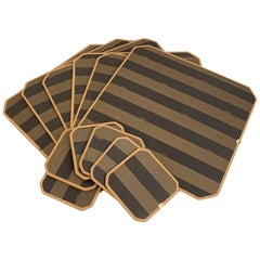 Fendi Pequin Striped Canvas Set of 6 Placemats and Coasters