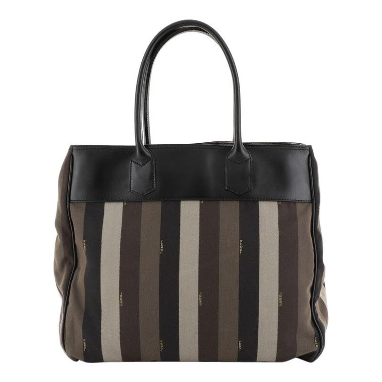 Fendi Pequin Tote Canvas with Leather Large