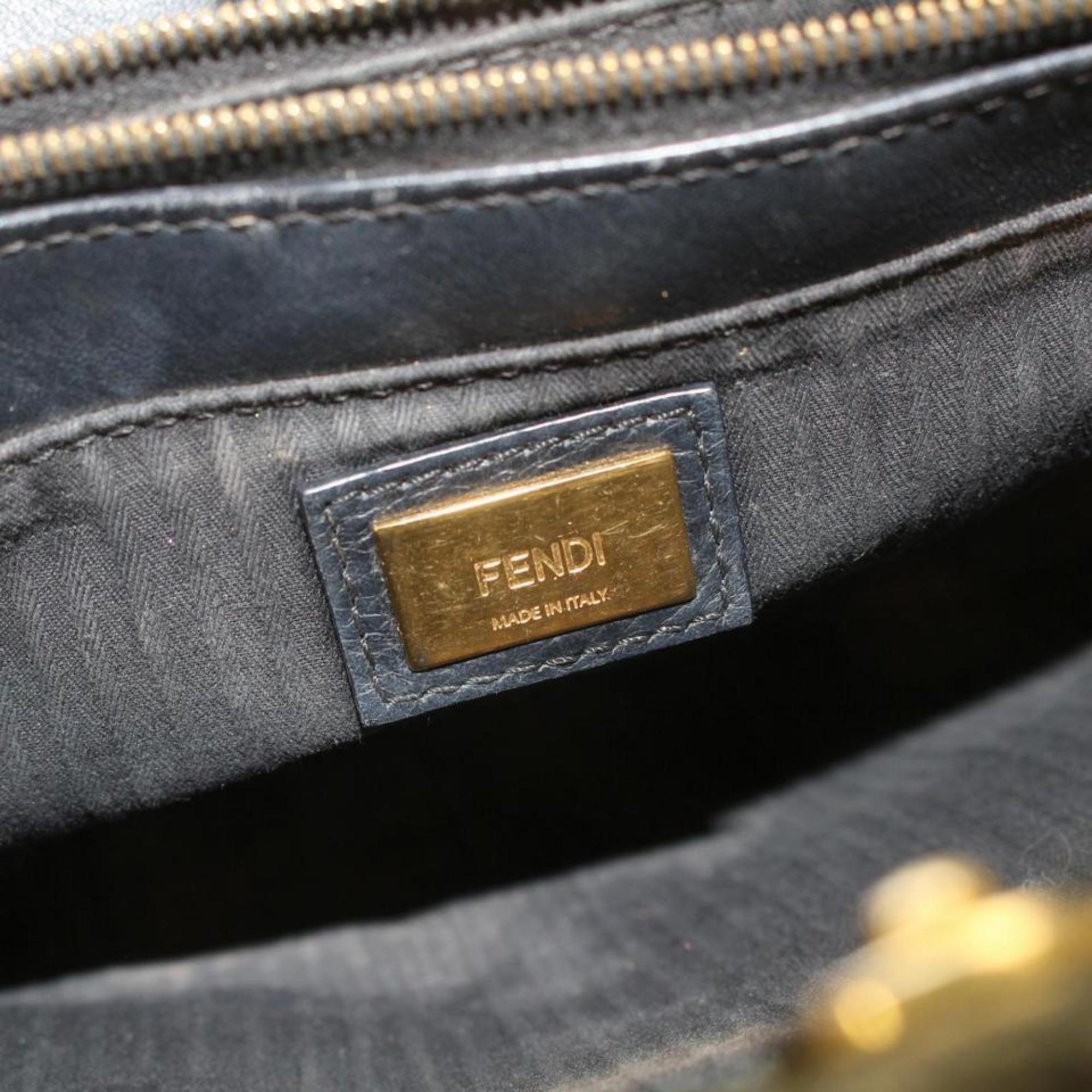 1de277610b2b Fendi Petite 2jours 2way Tote 869621 Black Leather Shoulder Bag For Sale at  1stdibs