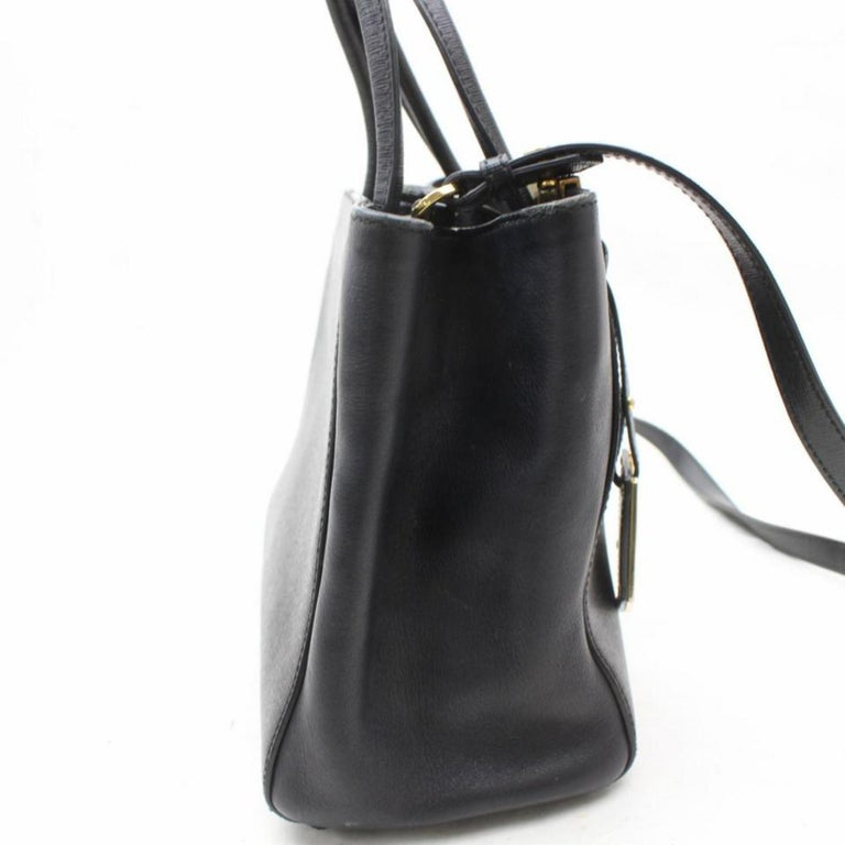 1bceb5c5fd42 Fendi Petite 2jours 2way Tote 869621 Black Leather Shoulder Bag For Sale 2