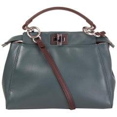 FENDI petrol blue & brown BICOLOR PEEKABOO MINI Shoulder Bag