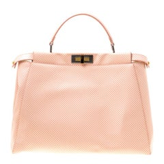 Fendi Pink Color Block Patent with Sequin Lined Large Peekaboo Top Handle Bag