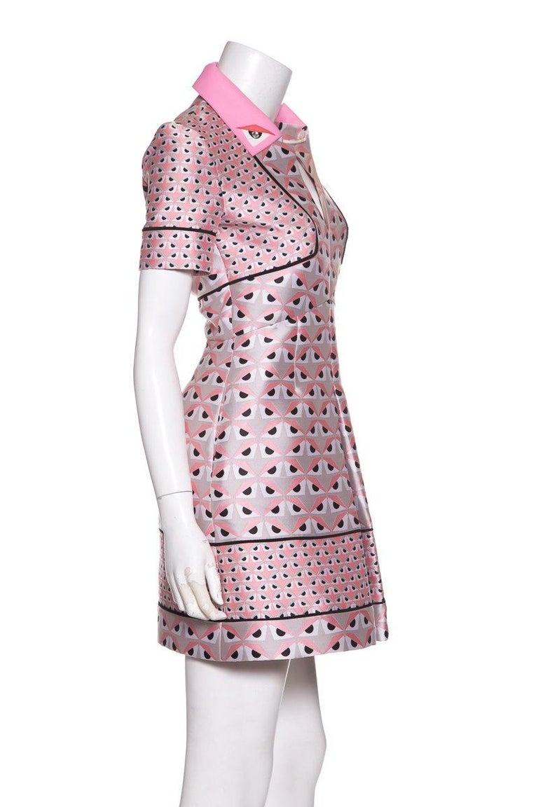 Gray FENDI  Pink Jacquard Monster Dress SZ 36 For Sale