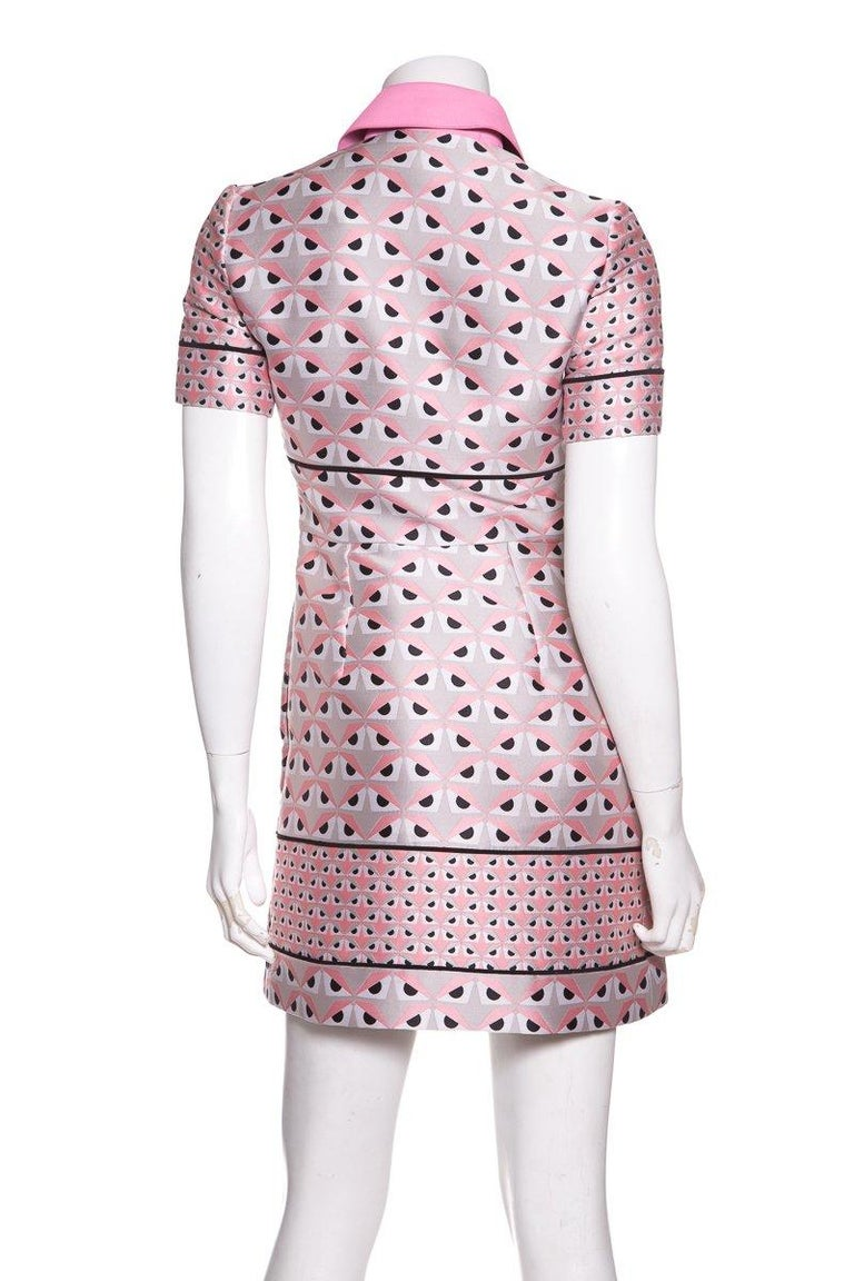 FENDI  Pink Jacquard Monster Dress SZ 36 In Excellent Condition For Sale In Scottsdale, AZ