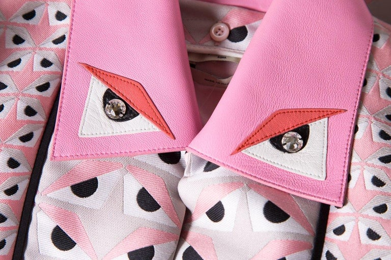 FENDI  Pink Jacquard Monster Dress SZ 36 For Sale 2