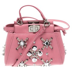 Fendi Pink Leather Micro Crystal Embellished Peekaboo Crossbody Bag