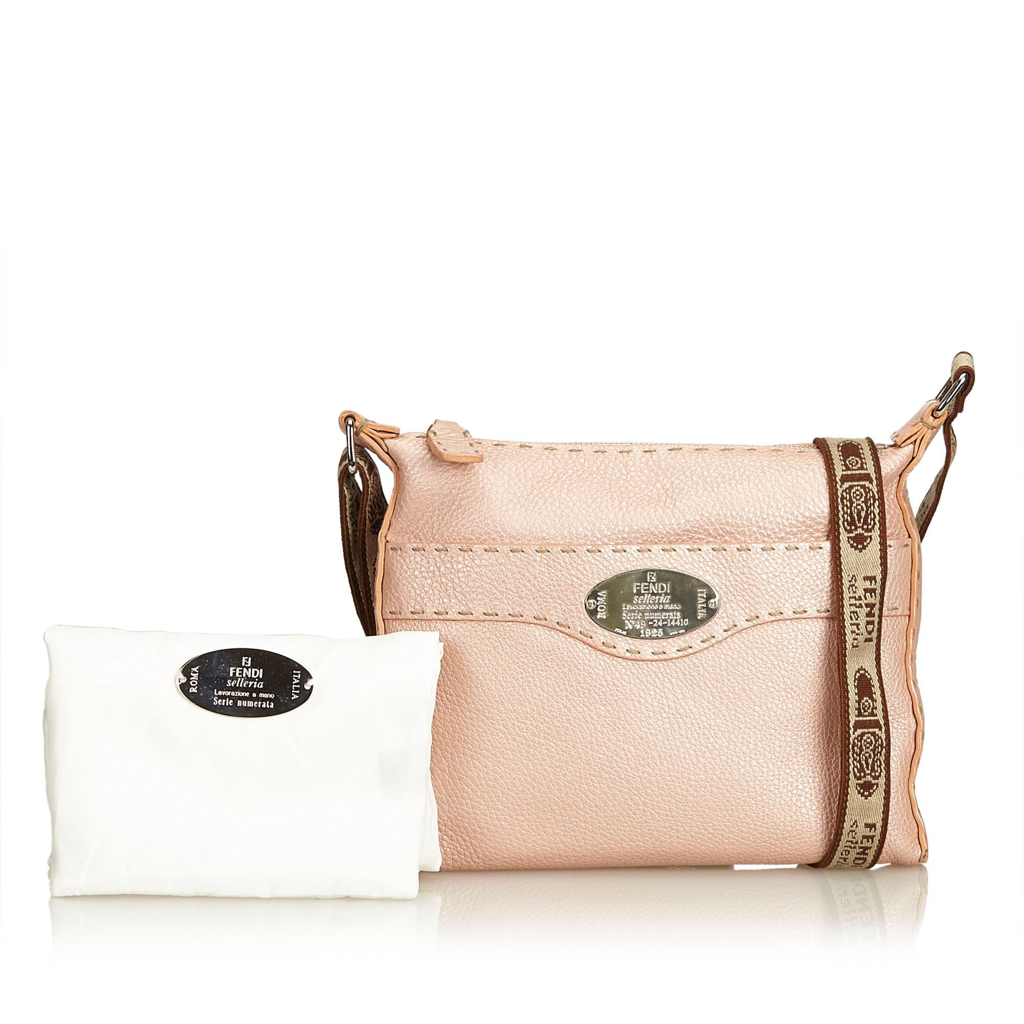 ffc625ce8406 Fendi Pink Leather Selleria Crossbody Bag at 1stdibs