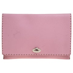 Fendi Pink Leather Selleria Flap Clutch