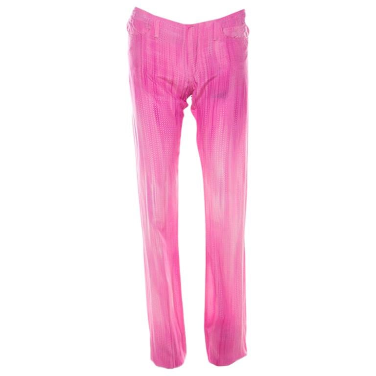 Fendi Pink Micro Dot Perforated Silk Elasticized Ankle Trousers S For Sale