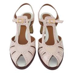 Fendi Pink Patent Leather Spectator Style Shoes Sz 38