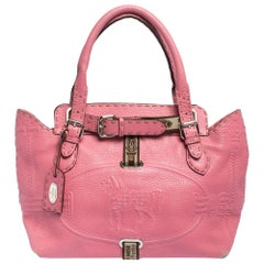 Fendi Pink Selleria Leather Small Villa Borghese Tote