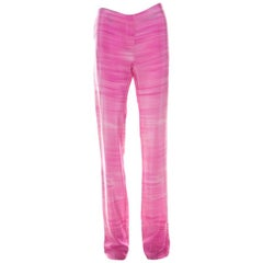 Fendi Pink Striped Crepe de Chine Silk Relaxed Trousers M
