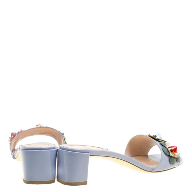 e17c68b0115b Fendi Powder Blue Patent Leather Flowerland Embellished Block Heel ...
