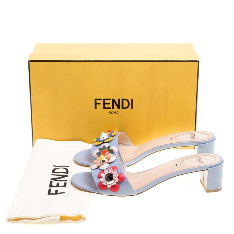 38ed0adbdc7e Fendi Powder Blue Patent Leather Flowerland Embellished Block Heel Slides  Size 3 For Sale at 1stdibs