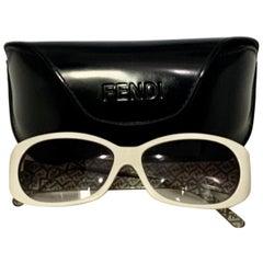 Fendi Pre Loved  FS 303 105 130White  Women Sunglasses, Made in Italy