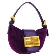 Fendi Purple Gold Suede Leather Small Mini Logo Top Handle Satchel Pochette Bag
