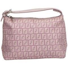Fendi Purple Jacquard Fabric Zucchino Handbag Italy