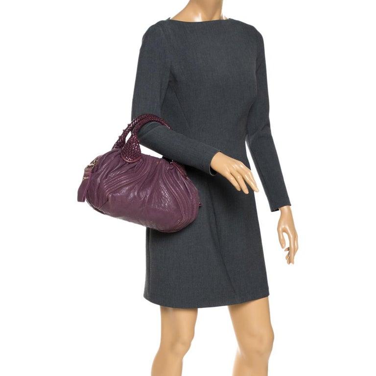 Black Fendi Purple Leather Mini Spy Hobo For Sale